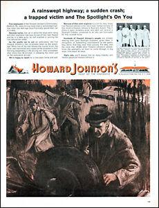 1964 Howard Johnson's Bedford PA Automobile car wreck vintage art print ad L25