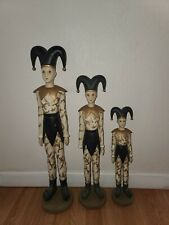 Vintage Harlequin Jester Figurine Statue set of 3