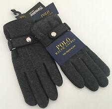 RALPH LAUREN TECH friendly en laine gris & gants en cuir avec thinsulate taille m