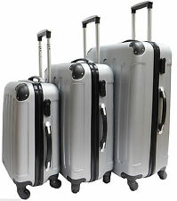 Hard Shell 4 Wheel Spinner Suitcase Set Luggage Trolley Case Cabin Hand SILVER