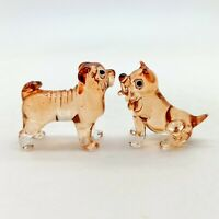 2 Bulldog Dog Glass Figurine Animal Hand Blown - GPDG030