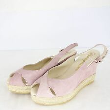 Espadrilles Women's Court Shoes Ankle-Strap Sandal Leather Suede Wedges 39 NP