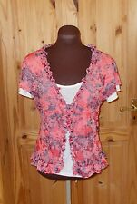 PER UNA M&S coral pink red cream floral frill short sleeve tunic t-shirt top 14