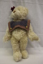 """Becky Coutras Ivory Jointed """"Patriotic"""" Bear W/American Flag Collar & Bow, 17"""""""
