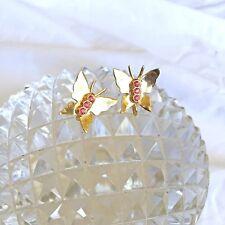Vintage CORO Butterfly Earrings w Pink Rhinestone Bodies