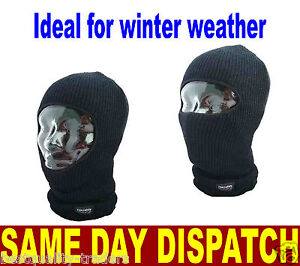 MENS BLACK THERMAL INSULATED OPEN FACE BALACLAVA ONE SIZE HIKING SKYING FISHING