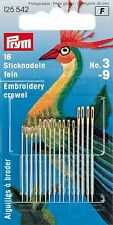 PRYM ASSORTED EMBROIDERY CREWEL NEEDLES WITH GOLD EYE, NO.3-9, 16 PCS (125 542)
