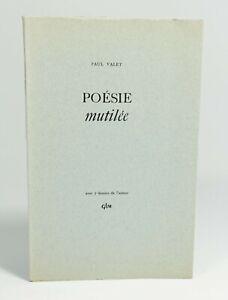Paul VALET Poésie mutilée. 7 dessins de l'auteur GLM, 1951. EO. Tirage de tête