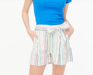 J.Crew Factory $60 Striped Tie Waist Short in Stretch Cotton Poplin Sz 14 AP250