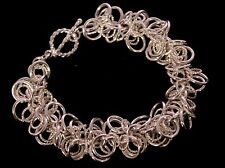 Handmade Sterling Silver Sassy Swirl of Rings Chainmaille Bracelet. 7 inches.