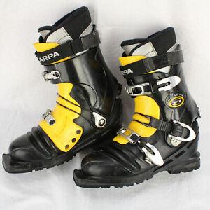 SCARPA T1 Vibram TELEMARK Black Yellow 3-Pin Nordic SKI BOOTS MEN'S SX 7 / 8