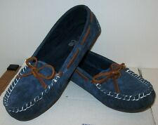 EUC LAMO SUEDE LEATHER ESSENTIAL MOCCASINS WOMENS 10 NAVY BLUE FLATS BROWN TIE