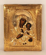 Antique Russian Icon Smolenskaya Mother of God Gilted Riza Oklad Hand Painted