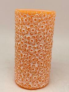 ELAMBIA Stumpenkerze mit Wasserflamme inkl. LEDs Timer, ca. 20cm orange BB