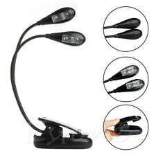 2 Dual Flexible Arms 4 LED Clip-on Lamp for Piano Music Stand Book Reading Light