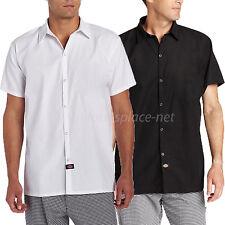Dickies Shirts Mens Short Sleeve Chef Cook Shirt Pocketless DC127 Black or White