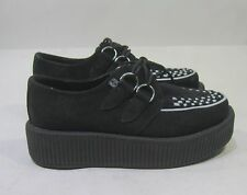 T-U-K  new  Black Suede white interlace Creeper   size..  woman   7- MEN  5