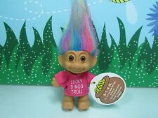"LUCKY BINGO TROLL w/RAINBOW HAIR - 3"" Russ Troll Doll - NEW STORE STOCK"