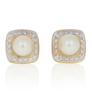6mm Cultured Pearl Earrings - 14k Yellow Gold Square Pierced Studs