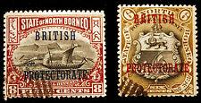 North Borneo #110 & #111 *Missing Period* 1901-05 Errors VF Used Rare NICE