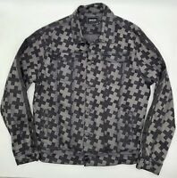 Pink Dolphin X Allover Print Black Denim Jacket Size Large