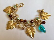 Unusual Maple Leaf Faux Pearl Chain Dropper Bracelet Gold Tone Teal  Bronze 7.5""