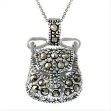 925 Silver & Marcasite Novelty Purse Pendant