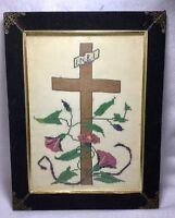 Victorian Velvet Framed Petite Religious Cross Stitch Completed INBI Greek Vtg