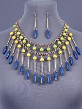 Western Layered Yellow Blue Lime Bib Dangle Necklace Set Fashion Jewelry