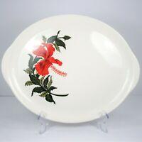 "Crooksville Iva-Lure Flamingo Oval Platter 13.25"" Tab Handles Red Hibiscus 1950s"