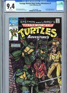 Teenage Mutant Ninja Turtles Adventures #1 CGC 9.4 White Pages Archie Pub 1988
