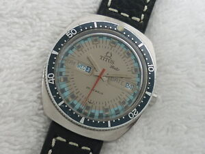 Vintage TITUS Diver Automatic 37mm 25 Jewels 8545 Steel date day Swiss Watch