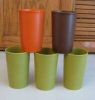 5 Vintage Tupperware TUMBLERS 1320 Harvest 8 Ounce Stackable Glasses Cups Kids