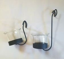 Set Of 2 Small Iron Hanging Candle Holders