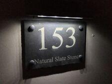 MODERN HOUSE SIGN PLAQUE DOOR NUMBER STREET ENFRAVED SLATE SIGN WITH SOLAR LIGHT