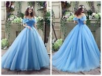 Blue Cinderella Off the Shoulder Prom Evening Party Dress Size 4 6 8 10 12 14 16