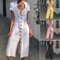 Damen Kurzarm Kleid Shirtkleid Maxikleid Knopf Casual Lange Longshirt Partykleid