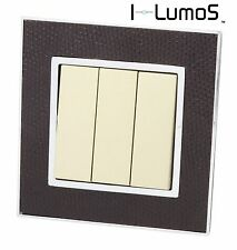 I LumoS AS Goat Skin Leather & Gold 13A UK Single/Double Socket & Light Switches