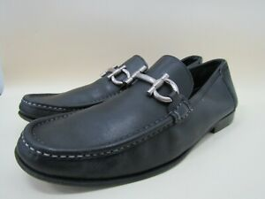 Salvatore Ferragamo Men's Black Leather Horsebit Moccasin Loafers Size 10.5