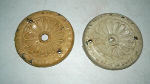 ANTIQUE 1890 1900 CAST IRON DECOR LIGHT FLUSH BEAUTY TRIM RINGS TIN TILE CEILING