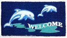 """Door Mats - Dancing Dolphins Flocked Coir Welcome Mat - 18"""" X 30"""" - Door Mat"""