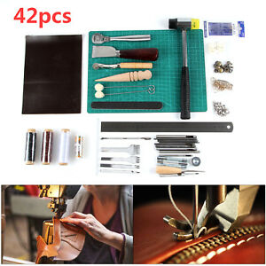 42pcs Leather Craft Tools Stitching Carving Sewing Working Saddle Cutting Kit