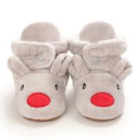 Baby Cozy Fleece Booties Gray Christmas Reindeer Newborn Shoes Toddler Footwear