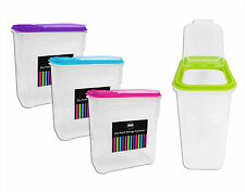 4 x 2 Litre Plastic Pet Pasta Cereal Rice Dry Food Storage With Lid Container