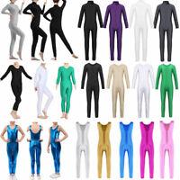 Kid Girl Gymnastics Leotard Ballet Dancewear Long Full Bodysuit Jumpsuit Catsuit