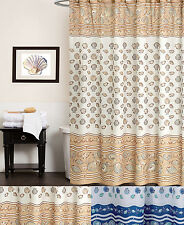 "Polyester Fabric Shower Curtain South Beach Sea Shell Print 70"" X 72"""