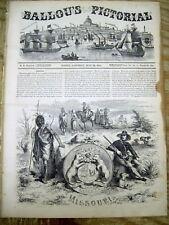 1855 illustrated newspaper w Descriptive Text & Scenes o MISSOURI -Shows INDIANS