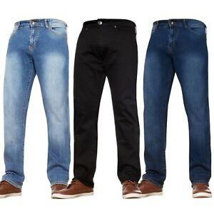 Mens Straight Leg Stretch Jeans Basic Casual Work Denim Regular Big Tall Waists