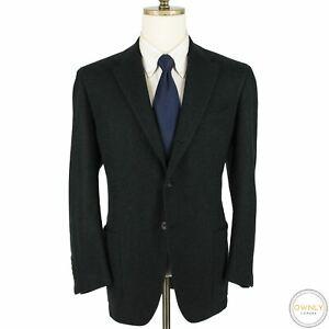LNWOT Kiton Emerald Black 77% Cashmere Boucle Tweed Handmade 3/2 Jacket 44R