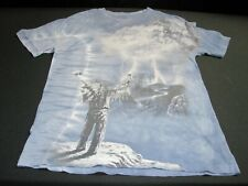 Mountain Evolution Tie Dye Indian and Wolf T Shirt Large blue ~ 9844